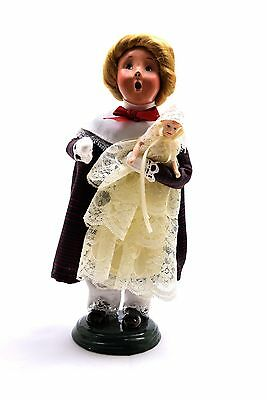 Byers Choice Carolers Retired Child Girl w/ Porcelain Doll in Lace 1998