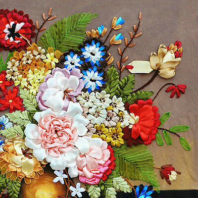 Lovely Romantic Multicolour Flower Tuzzy-Muzzy 3D Ribbon Embroidery Kit 55*55CM