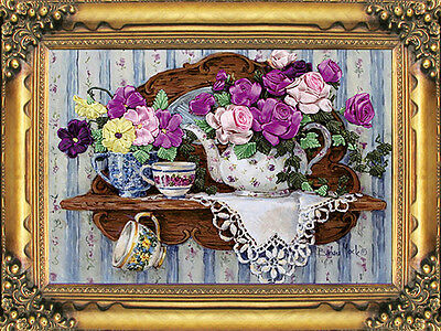 3D Elegance Multicolour Flowers Coffee Pot Cups Ribbon Embroidery Kit 42*30CM