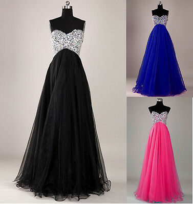 Stock Long Beaded Bridesmaid Dress Party Formal Prom Dresses Evening Ball Gown
