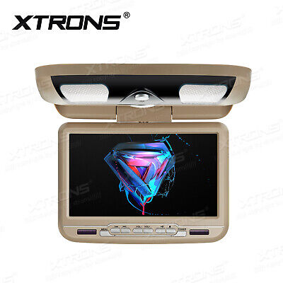 """Beige 9"""" HD Flip Down Car Overhead SD USB DVD Player Roof Mount Monitor Game FM"""