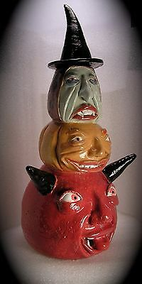 UNLIKELY FRIENDS: Witch, Pumpkin and the Devil - Traditional Stacked Face Jug