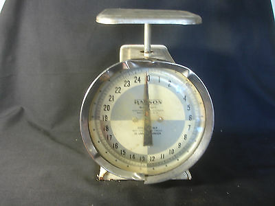 Old Vtg Hanson #1371 25 lbs. Tin Weighing Kitchen Utility Food Scale USA