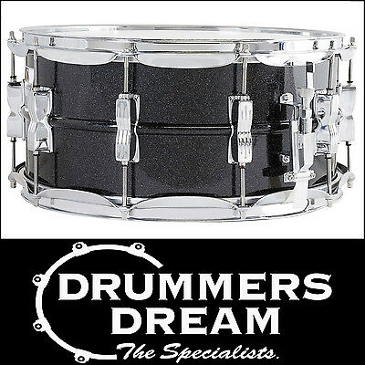 """Ludwig Acrolite 14"""" x 6.5"""" Galaxy Black Aluminum Snare Drum With Chrome Hardware"""
