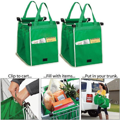 Set of 4 Reusable Shopping Bags Trolley Bags Eco-Friendly Grocery Cart Carrier