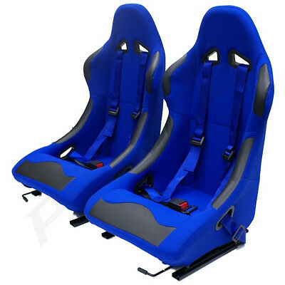 Pair Of Blue Fixed Bucket Car Seats + Racing Harnesses