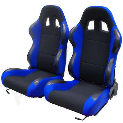 Black & Blue Reclining Bucket Car Seats For Vw Lupo/fox
