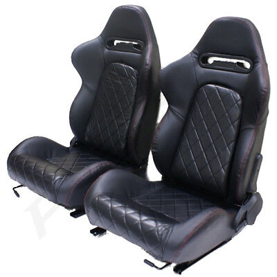 Black Pvc Leather Eff Reclining Bucket Car Seats For Vauxhall Corsa/combo