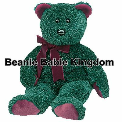 Ty Beanie Buddy * 2001 HOLIDAY BEAR * The Green Sparkly Holiday Teddy Buddie 14""