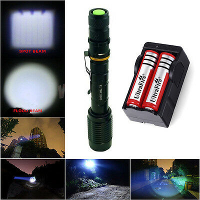 CREE XM-L T6 LED Ultrafire 2000 Lumen Flashlight Torch Zoomable+18650+Charger