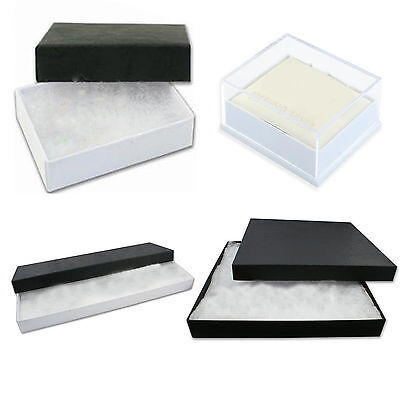 Jewellery Gift Boxes Black White Fluff Pads Silver Earrings Bracelet Necklace HQ
