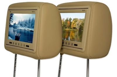 "Pair Of TView T921PL Universal 9"" Beige / Tan TFT Headrest Car Video Monitors"