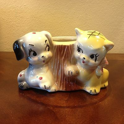 Vintage McCoy? American Bisque? USA Pottery Gingham Cat / Calico Dog Planter