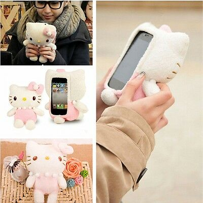 Lovely 3D Cute Hello Kitty Plush Toy Doll Case Cover For Samsung Cell Phones