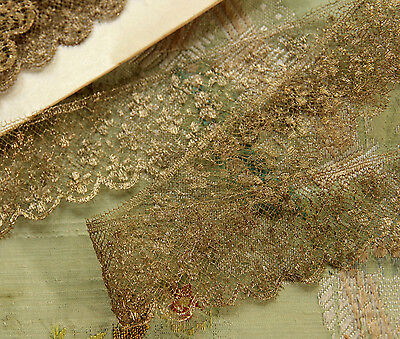 ANTIQUE GOLD METAL LACE FROM FRANCE 1 YARD FLAPPER DRESS DOLL MILLINERY TRIM HAT