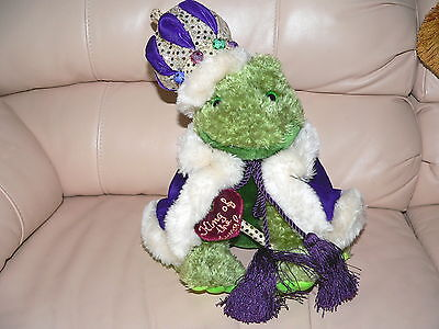 FROG PRINCE Plush Toy KING OF JUNGLE Glitter Crown Purple CAPE well MADE RARE