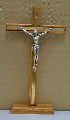 Standing Olive Wood Crucifix, Metal Inlay & Corpus, 300mm x 180mm, Made in Italy