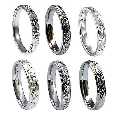 3mm Hand Engraved Wedding Rings 950 Platinum Court Comfort Profile UK HM Bands