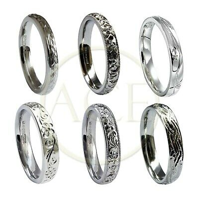 Hand Engraved 9ct White Gold 3mm Wedding Rings Court Comfort NEW 375 UK HM Bands