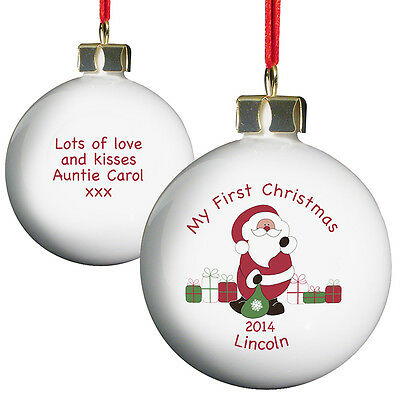 New Personalise Santa My First Christmas Bauble Christmas Tree Decoration
