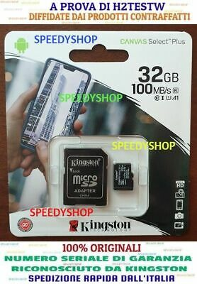 KINGSTON Micro SD 32 GB class 10 PLUS MICROSD 100MB/S Canvas SCHEDA MEMORIA 2020