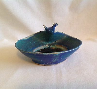 Blue Green Folk Art Pottery Stoneware Bowl With Bird Perched On Side Signed