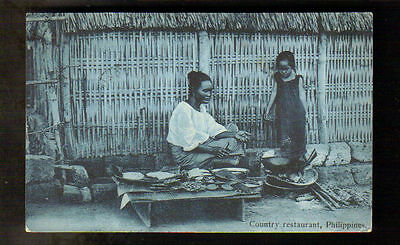 PHILIPPINE ISLANDS ~ COUNTRY RESTAURANT, FOOD, WOMAN & CHILD ~ used 1910