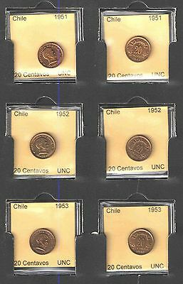 1951 1952 1953 CHILE 20 CENTAVOS COIN SET UNCIRCULATED Cats $12+   NICE COINS !