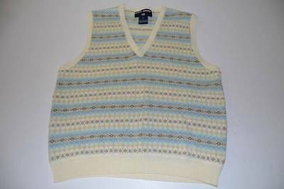 Polo Sport Ralph Lauren Ivory Blue Green Sweater Vest Youth Boys Size Large L