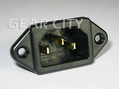 psk01 Gold IEC 320 C14 Mains Power Inlet Socket Male Panel Entry Plug HiFi