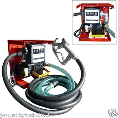 New 110V Electric Oil Fuel Diesel Gas Transfer Pump W/Meter 12' Hose Manual