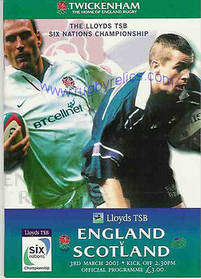 ENGLAND v SCOTLAND 2001 RUGBY PROGRAMME 3 MARCH - TWICKENHAM