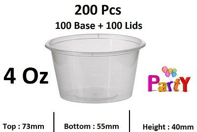 4 Oz (120ml) 200 Pcs 100 Base + Lids Round Sauce Take Away Containers Cheap Sydn