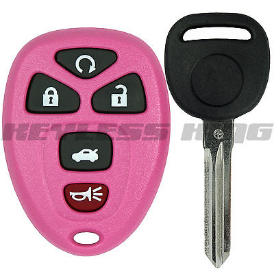 New Pink Replacement Keyless Entry Remote Start Key Fob Clicker + Uncut Key