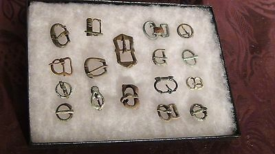 Set Of 17 Ancient Roman Bronze Ribbon Buckles