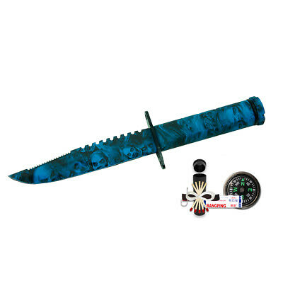 "8.5"" Blue Skull Camo Hunting Survival Tactical  Knife w/ Kit & Sheath Fishing"
