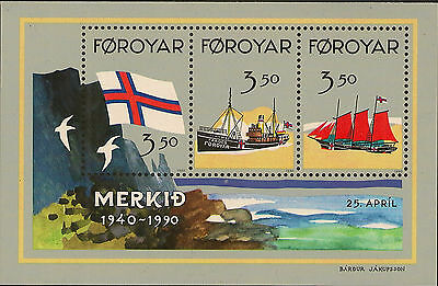 FAROE ISLANDS :1990 Recognition of Flag miniature sheet SGMS195 unmounted mint