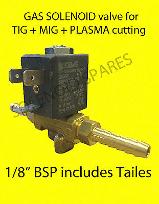 "GAS SOLENOID valve MIG and TIG welder Plasma cutting. 1/8"" BSP size + tails CEME"