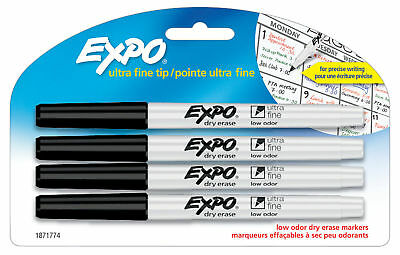 Sanford Expo Low Odor Dry Erase Markers Ultra Fine Tip Precise Writing 4pk Black