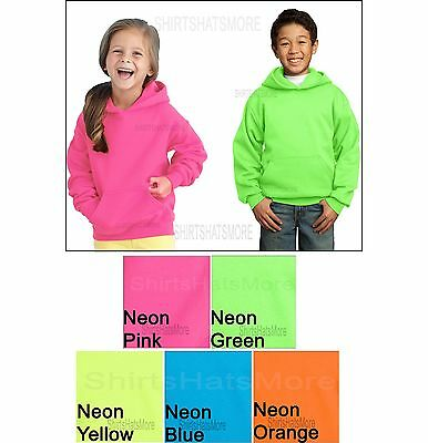 YOUTH Pullover NEON Hoodie Hooded Sweatshirt Poly/Cotton Children Kids XS-XL NEW