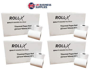 100 - 57x40mm Roll-X Thermal Till Rolls Chip & Pin PDQ (5 case x 20) UKB785