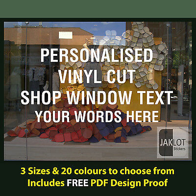 Personalised shop window sticker decal vinyl cut text words business custom