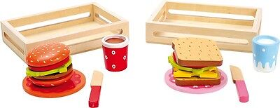 Wooden Burger and Sandwich Set Kitchen Food Role Play Toy Fun Pretend Play
