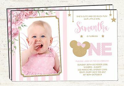 Pink and Gold Minnie Mouse 1st Birthday Invitation Girl Invite Party Supplies