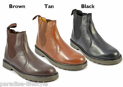 Mens Leather Chelsea Boots Plain Shoes Air-Cushioned Sole Dealer Pull-Up Size