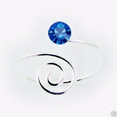 Spiraled End Toe Ring Swarovski Crystal Sterling Silver Jewelry Blue Sapphire