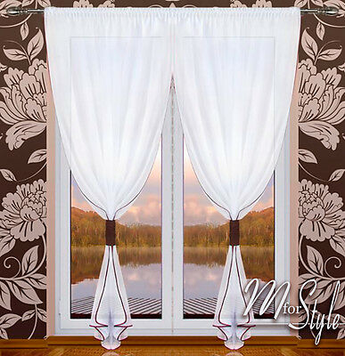 PAIR of Voile Net Curtain Slot Top White Ready Made Panel Window Patio Door