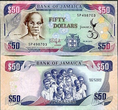 JAMAICA 50 DOLLARS 50TH COMM. INDEPENDENCE 2012 P 89 NEW UNC