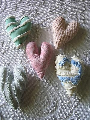 5 VINTAGE CHENILLE MINI HEART PILLOWS ~~ HANDMADE ~~ EXCELLENT!