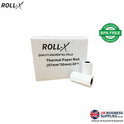 ROLL-X 57x30mm PDQ & TILL ROLLS, 20 - 500 ROLLS, QUALITY ASSURED!
